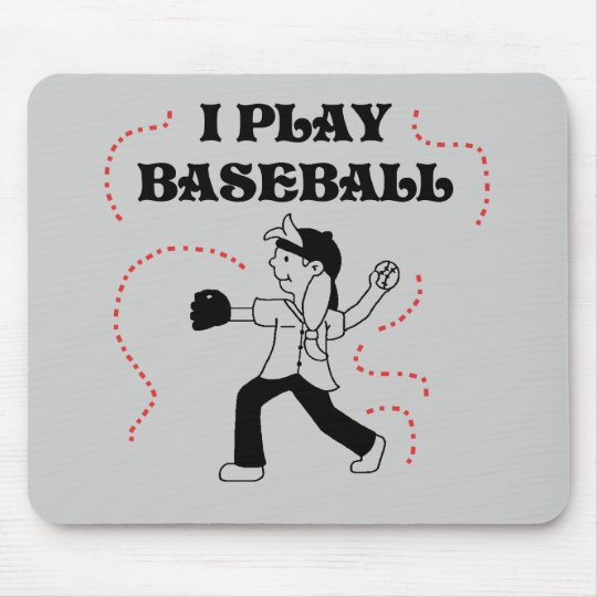 I Play Baseball- Girl Tshirts and Gifts Mouse Mat