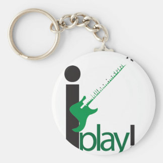 i play bass basic round button key ring