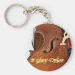 I play Cello Basic Round Button Key Ring