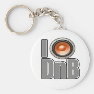 I PLAY DnB Drum and Bass music shirts and gear Basic Round Button Key Ring