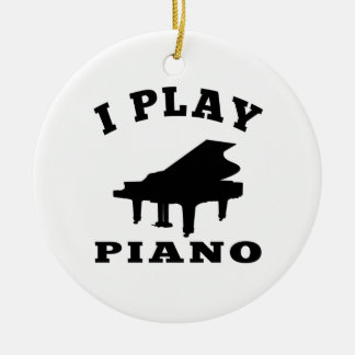 I Play Piano Round Ceramic Decoration