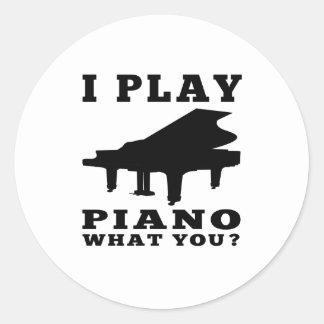 I Play Piano Round Stickers