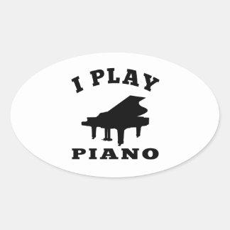 I Play Piano Oval Sticker