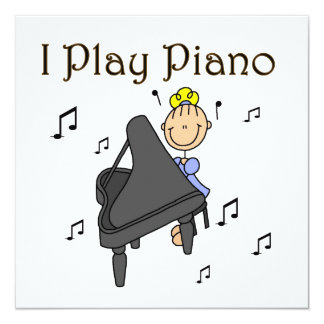 I Play Piano T-shirts and Gifts 13 Cm X 13 Cm Square Invitation Card