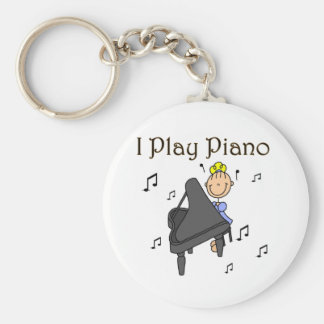 I Play Piano T-shirts and Gifts Basic Round Button Key Ring