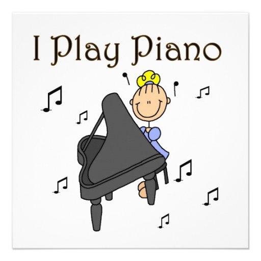 I Play Piano T-shirts and Gifts Custom Invite