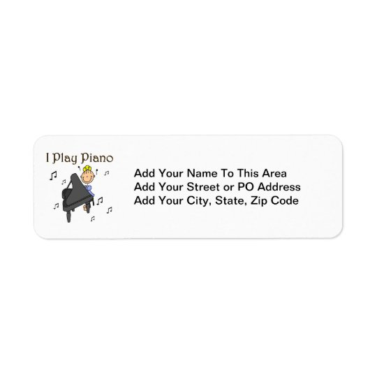 I Play Piano T-shirts and Gifts Return Address Label