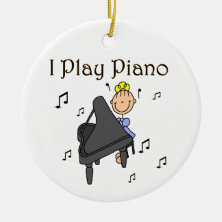 I Play Piano T-shirts and Gifts Round Ceramic Decoration