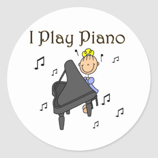 I Play Piano T-shirts and Gifts Round Sticker