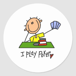 I Play Poker Round Sticker