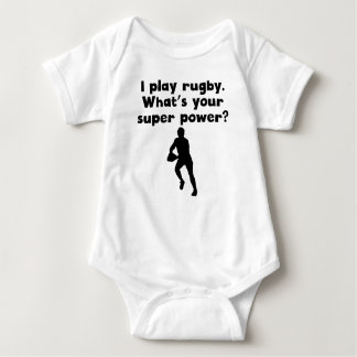 I Play Rugby Super Power Baby Bodysuit