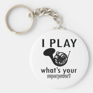 I play the French Horn Basic Round Button Key Ring