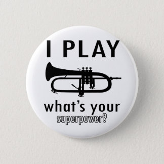 I play the trumpet 6 cm round badge