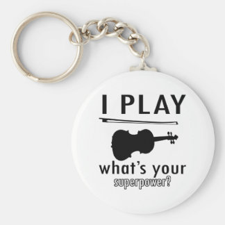 I play the Violin Basic Round Button Key Ring
