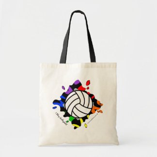 I Play Volleyball Ranbow Splash Budget Tote