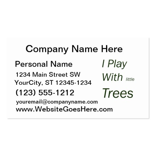 I play with little trees business cards
