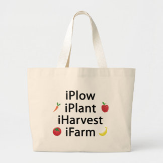 I Plow plant harvest farm with fruits Large Tote Bag