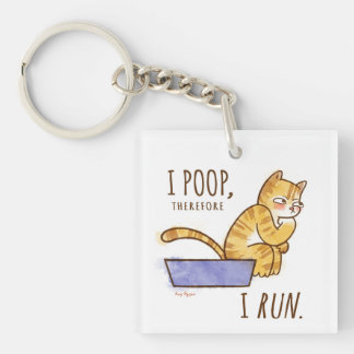 I Poop, Therefore I Run Cartoon Cat Humor Single-Sided Square Acrylic Key Ring