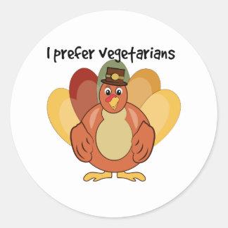 I Prefer Vegetarians Round Stickers