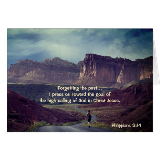 I press on toward the goal Philippians 3:14 Bible Card