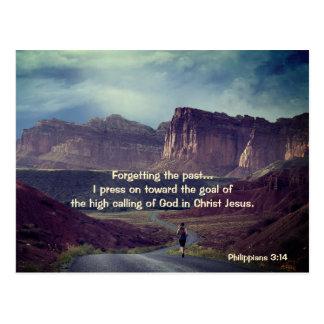 I press on toward the goal Philippians 3:14 Bible Postcard