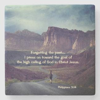 I press on toward the goal Philippians 3:14 Bible Stone Coaster