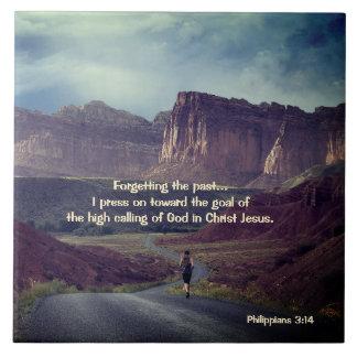 I press on toward the goal Philippians 3:14 Bible Tile