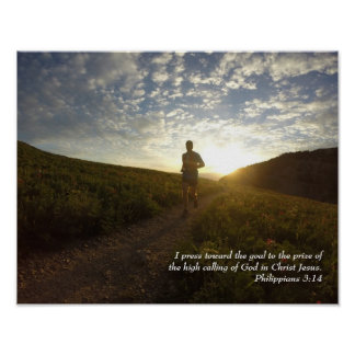 I Press Toward the Goal Philippians 3:14 Scripture Poster