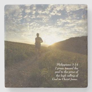 I Press Toward the Goal Philippians 3:14 Scripture Stone Coaster