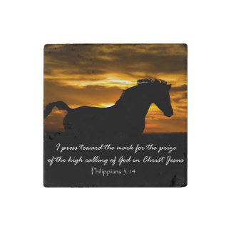 I press toward the mark Bible Verse with Horse Stone Magnet