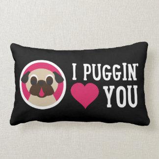 I Puggin' Love You Fawn Pug Lumbar Pillow Throw Cushion