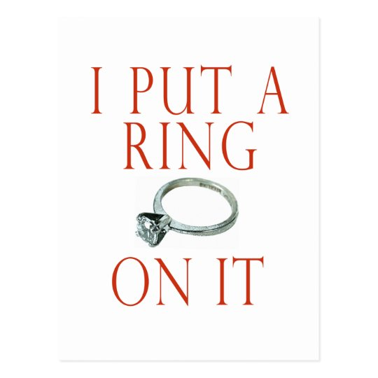 I Put a Ring on It Groom Engagement Postcard