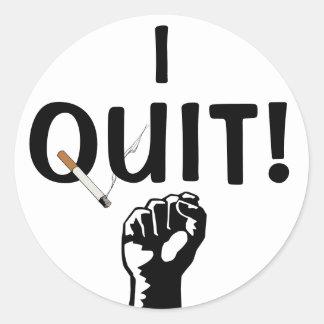 I Quit! Smoking Round Sticker