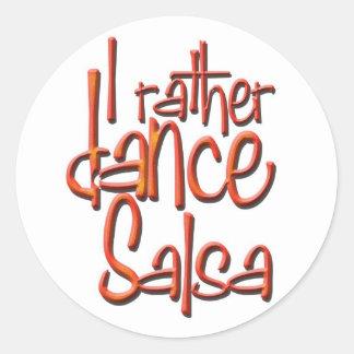 I rather dance Salsa Round Sticker