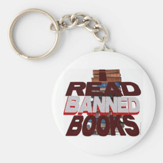 I READ BANNED BOOKS BASIC ROUND BUTTON KEY RING