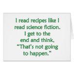 I read recipes like I read science fiction... Card