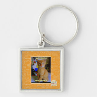 I read your journal Silver-Colored square key ring