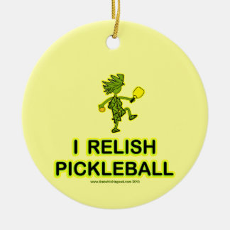 I Relish Pickleball Shirts & Gifts Round Ceramic Decoration