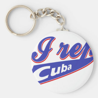 I Rep Cuban Basic Round Button Key Ring