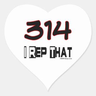 I Rep That 314 Area Code Heart Sticker