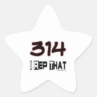 I Rep That 314 Area Code Star Sticker