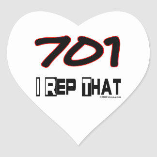 I Rep That 701 Area Code Heart Sticker