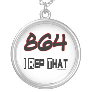 I Rep That 864 Area Code Round Pendant Necklace
