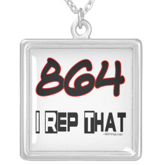 I Rep That 864 Area Code Square Pendant Necklace