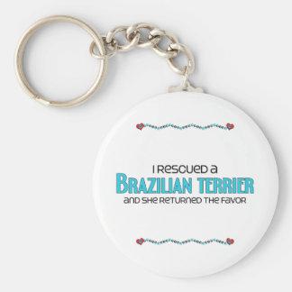 I Rescued a Brazilian Terrier Female Dog Keychain