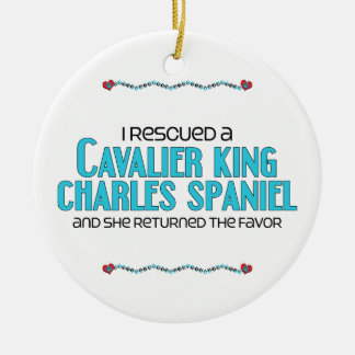 I Rescued a Cavalier King Charles Spaniel (Female) Christmas Ornament