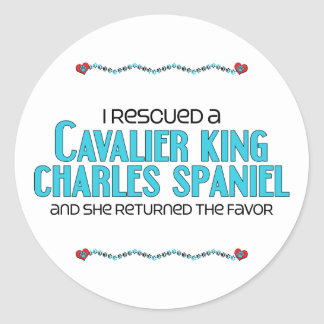 I Rescued a Cavalier King Charles Spaniel (Female) Round Sticker