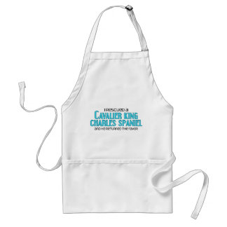 I Rescued a Cavalier King Charles Spaniel Male Aprons