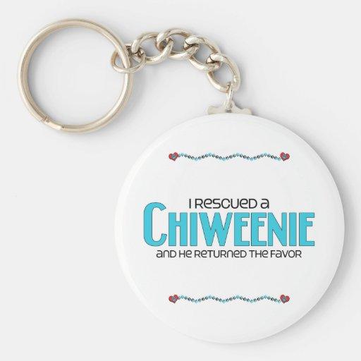 I Rescued a Chiweenie (Male) Dog Adoption Design Keychains