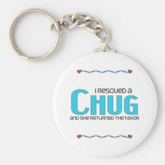 I Rescued a Chug (Female) Dog Adoption Design Basic Round Button Key Ring
